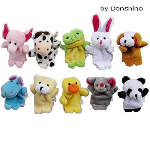 Denshine 10 Pcs Soft Plush Velvet Animal Style Finger Puppets Set -