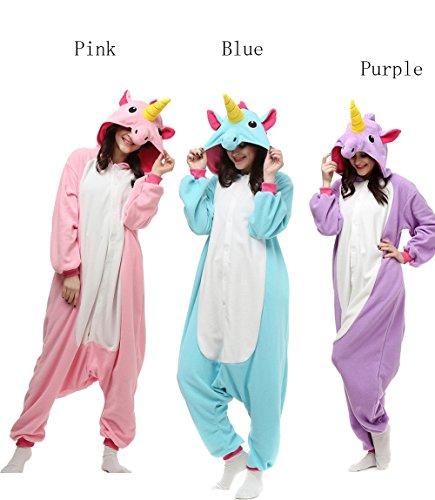 ElfZ Unisex Adult Animal Kigurumi Onesie Pajamas Unicorn Cosplay Costume Halloween Gift (M/L, Blue) (Costumes Teen Couples)