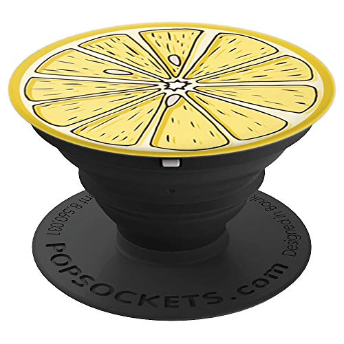 Sassy Southern Charm & Grace Trendy Cute & Unique Yellow Lemon Fruit Patterns on Black for Wireless - PopSockets Grip and Stand for Phones and Tablets