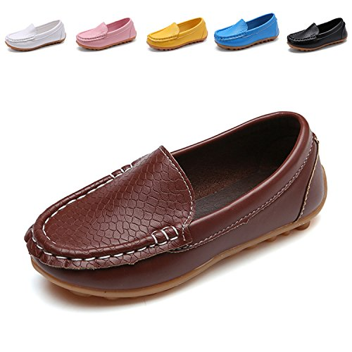 Sport Flat Brown Shoe (L-RUN Toddler/Little Boys Girls Slip On Flat Split Leather Loafer Boat-Dress Shoes Brown 8.5 M US Toddler)
