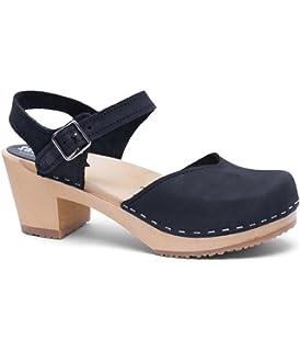 9b92fcc6a2a69 Amazon.com | Sandgrens Swedish High Heel Wood Clog Sandals for Women ...