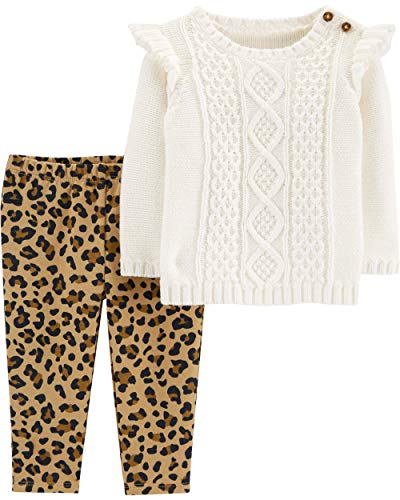 - Carter's Baby Girls' 2-Piece Top and Leggings Sets (Cream/Leopard/Sweater, 6 Months)