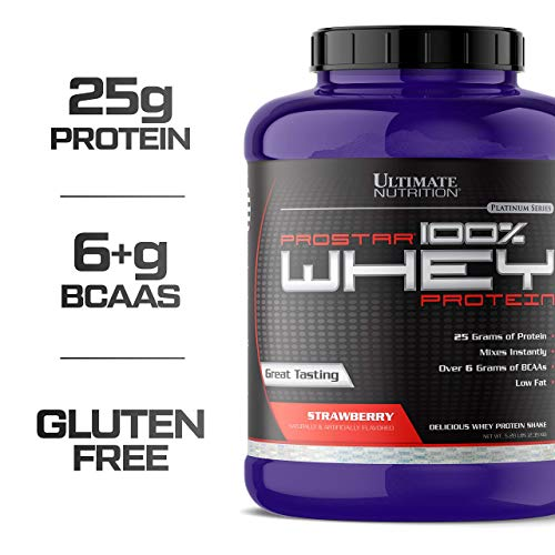 Ultimate Nutrition Prostar 100% Whey Protein Powder - 25g of Protein with 6g BCAAs for Optimum Muscle Recovery, Strawberry, 5.28 Pounds (Iso Sensation 93 Cookies)