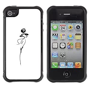 WAWU Funda Carcasa Bumper con Absorci??e Impactos y Anti-Ara??s Espalda Slim Rugged Armor -- abstract lady woman dancer squiggle white -- Apple Iphone 5C