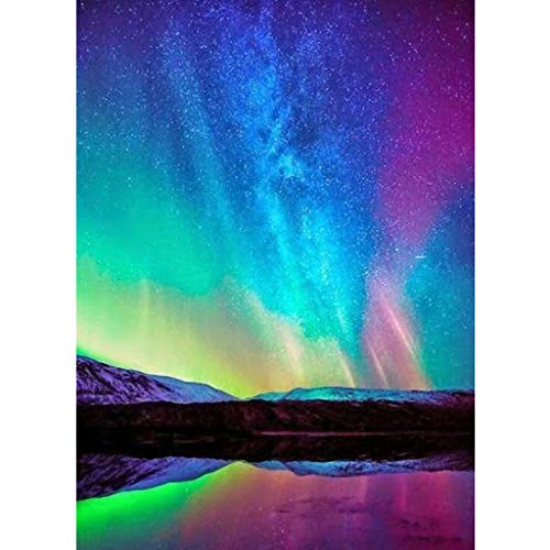 (Pengy 5D DIY Diamond Painting by Number Kit, Full Drill Arctic Sky Embroidery Cross Stitch Arts Craft Canvas Wall)