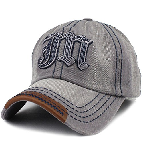 Womens Adjustable Baseball Cap Vintage Cool Hats Letter M Trucker Hat, Grey