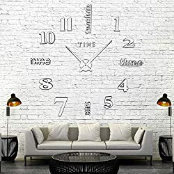 AOXLANT DIY Wall Clock, 3D Mirror Stickers Large Wall Clock Frameless Modern Design Large Watch Silent Home/Office/School Number Clock Decorations Gift (Silver1)