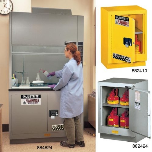 Justrite 882404 18 Gauge Steel 1 Door Manual Under Fume Hood Flammables Safety Storage Cabinet with Right Hinge, 15 Gallon Capacity, 24'' Width x 35-3/4'' Height x 21-5/8'' Depth, Silver