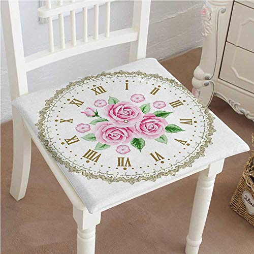 Premium Chair Cushion Face Roses Roman Numbers Light Pink Green Dark Khaki Comfort Memory PadCushions - Assorted Colors 26