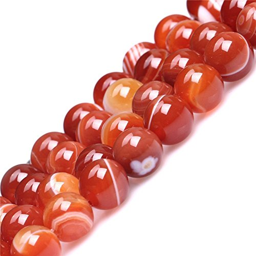 8mm Natural Red Banded Agate Beads Round Gemstone Loose Beads for Jewelry Making (47-50pcs/strand)