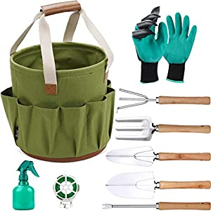 9 Piece Garden Tote and Tools Set, Garden Bucket Tool Kit Organizer with 18 Deep Pockets, Gardening Hand Tools and…