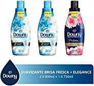 Downy Downy Brisa Fresca Suavizante De Telas 1.6 L + Black Elegance 750 Ml, color, 1 count, pack of/paquete de