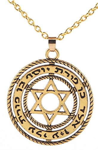 Jewish Symbol Spirit Protection Star of David Pendant Necklace Jewelry for Men Women (gold tone and link) (Jewish Protection)