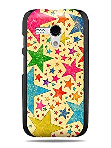 "GRÜV Premium Case - ""Retro Vintage 70s Multicolor Stars"" Design - Best Quality Designer Print on Black Hard Cover - for Motorola Moto G XT1032"