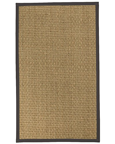 NaturalAreaRugs Basketweave Custom Seagrass Rug,Non-Slip Rug Pad Included 6' x 6' Onyx Border