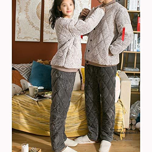 Gwdj Costura El Hogar Male Color Mantener Piezas Ropa Cárdigan Pijamas Pijamas Casual De Tres Conveniente Traje Para Algodón Espesar Hombre Amantes Invierno Niveles Abrigados Mujer Dos 4r4w1xTaq