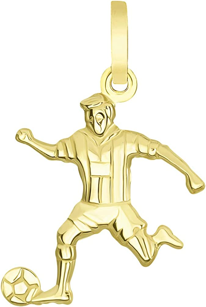 14k Yellow Gold 3-D Football Player Pendant