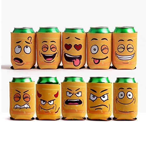 Amazing Drinkers - 10 pack funny quotes & cartoons Extra Thick yellow Neoprene Beer & beverage 12 OZ Can Sleeve Covers - Fully stitched, Trendy & Awesome for Gift or Hosting Item # 10C-YFC