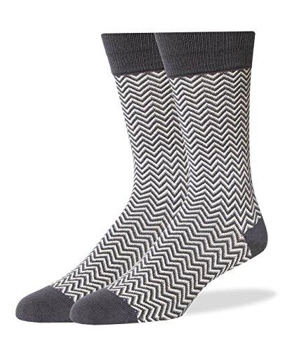 SPREZZA Men's HerringBone Crew Dress Socks, Cotton, Size 9-13, Gray