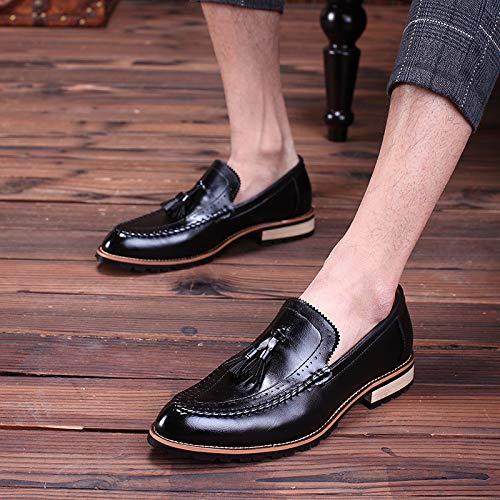 Primavera Black Zapatos Verano Casual Estilista Borla De Moda Jóvenes Cuero Hombres LYZGF 1qExwB41