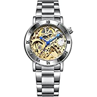 Automatic Watches Gold Face for Women Stainless Steel Band Romantic Dial Dress Watches Gift (gold)