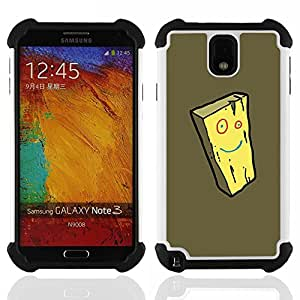 Dragon Case- Dise?¡Ào de doble capa pata de cabra Tuff Impacto Armor h??brido de goma suave de silicona cubierta d FOR Samsung Galaxy Note3 N9000 N9008V N9009- SPONGE CARTOON CHEESE FACE YELLOW SMILEY