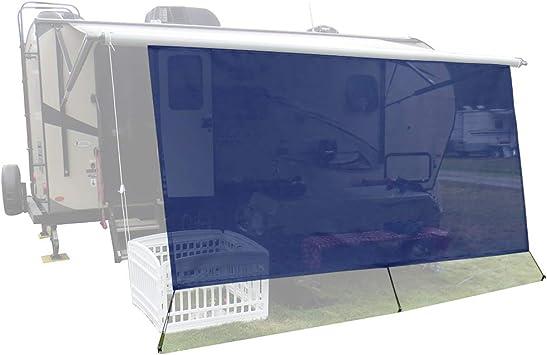 Navy Blue Mesh Sun Shade ● Block Patio Front Sun Light ● Motorhome Camping Trailer UV Sunblocker ● Canopy Sunscreen-3 Years Lasting leaveshade RV Awning Sunshade Screen ● Tentproinc 7X153
