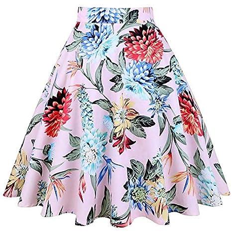 HEHEAB Falda,Impresión De Flores Coloridas Faldas Midi Verano ...