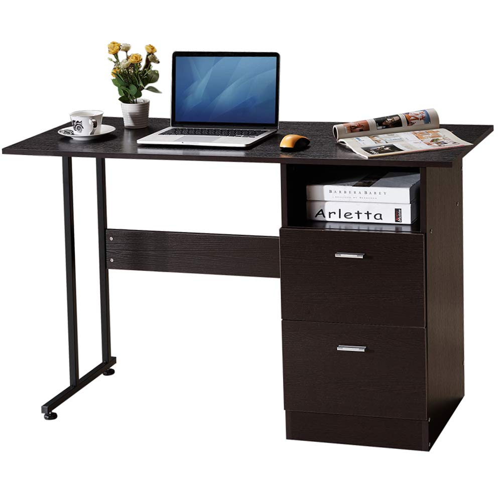 GreenForest Home Office Desk with Drawer and Shelf Computer Desk Table Simple Workstation with File Cabinet Storage, Espresso Oak