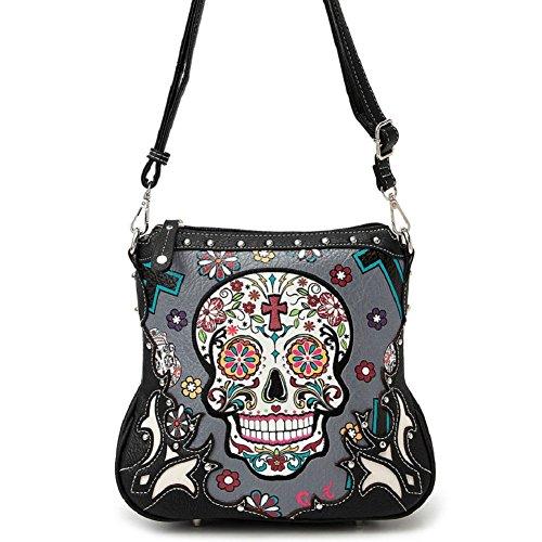 Sugar Skull Messenger Sling Bag Day of the Dead Purse with Concealed Carry Pocket, Grey (Skull Purse)