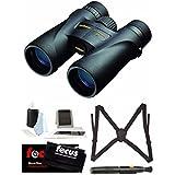 Nikon 7576 Monarch 5 8x42 Waterproof/Fogproof Roof Prism Binoculars with Essential Accessory Bundle