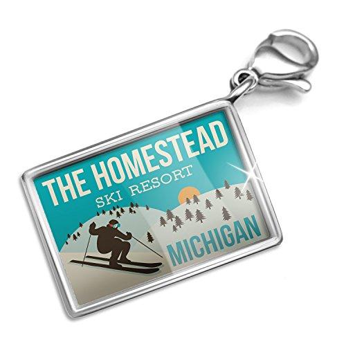 Clip on Charm & Bracelet Set The Homestead Ski Resort - Michigan Ski Resort Lobster Clasp
