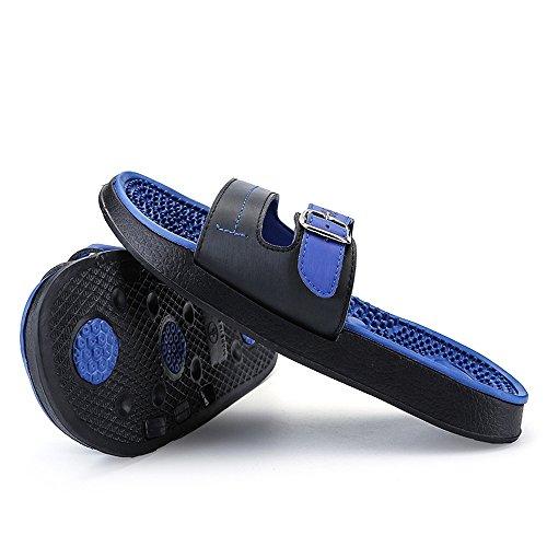 uomo per uomo Fangs 2018 Casual Scarpe Massage metallo Moda sandali Wear Decorazione ed bottoni skid Scivoli Slipper da Beach piscina Thick Shock esterna da Anti Blu interna nwII8zrqcy