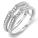 0.32 Carat (ctw) 14K Gold Round Diamond Ladies Bridal Wedding Band Double Guard Ring 1/3 CT