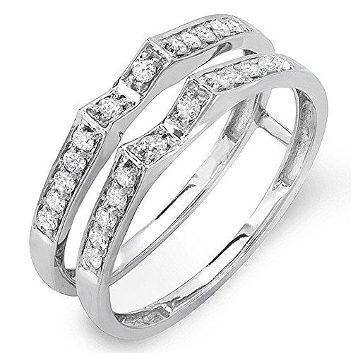 032 carat ctw 14k gold round diamond ladies bridal wedding band double guard ring - 3 Band Wedding Ring