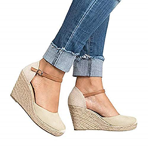 FISACE Womens Summer Espadrille Heel Platform Wedge Sandals Ankle Buckle Strap Closed Toe Shoes (8 M US, - Wedge Heel Sandal