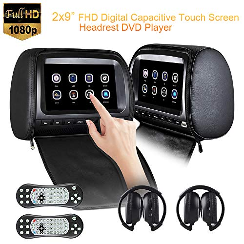 2x9 inch Touch Screen 1080P Car Headrest DVD Player with Leather Cover Zipper FM&IR Games for Kids Road Trips USB SD, Region Free, Resume, Sync Screen,2pcs IR Headphone (Black)