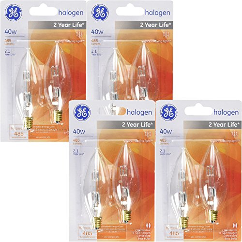 GE Decorative Halogen Light Bulb Blunt Tip 40W, 485 Lumens, Halogen Candelabra; Clear 2800K (8 Bulbs)