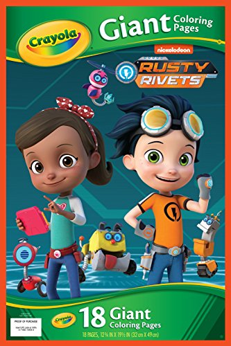Crayola Rusty Rivets, 18 Giant Coloring Pages, Gift for Kids, 3, 4, 5, 6, Red