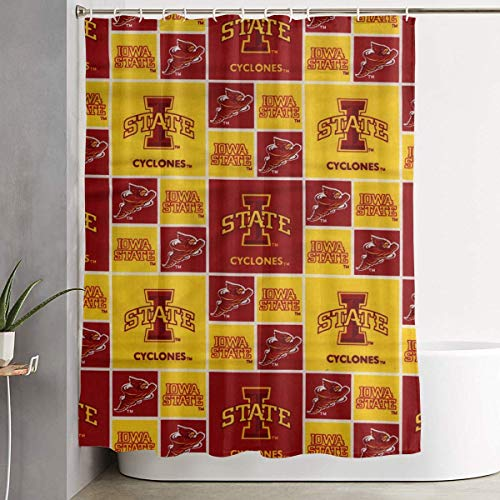 Jesso Iowa State Cardinal Gold Shower Curtain with Hooks 60 70 Inches Liner Polyester Bathroom Curtain for Shower stall