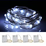 OFTEN String Lights, [4 Packs] 2M 20 LED Waterproof Copper Wire LED String Fairy Lights Lamp for Christmas Wedding and Party Club Home Indoor Outdoor Decorating(White)