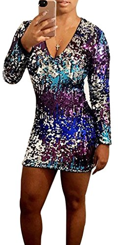 Disco Mini Dress (Dreamparis Women's Sequin Bodycon Mini Dress Gradient Long Sleeve Sexy Clubwear multicolored X-Large)