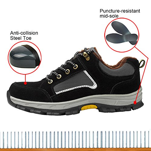 Shoes Men's Shoes 1 Work Steel Safety Black Shoes Toe Optimal REwgpqUR