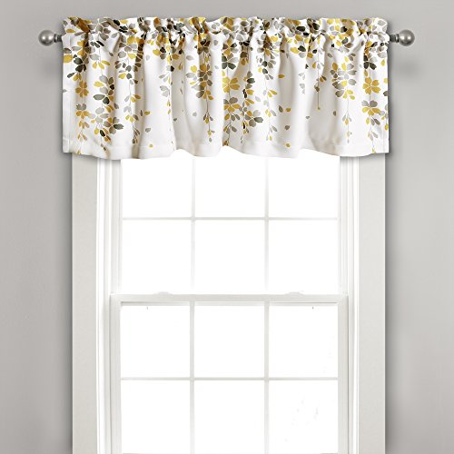 Lush Decor Weeping Flowers Yellow and Gray Valance Curtain for Windows, Yellow & Gray (Lush Decor Valance)