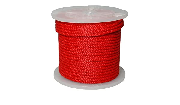 Red T.W Evans Cordage Co. T.W Evans Cordage 98015 5//8-Inch by 200-Feet Solid Braid Propylene Multifilament Derby Rope