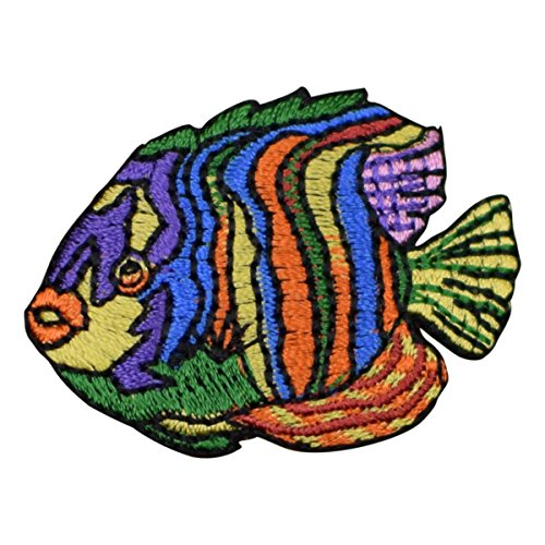 Striped Angelfish Applique Patch - Tropical Fish (Iron on) Tropical Fish Embroidery