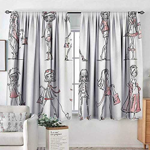 Mozenou Girls Window Curtain Fabric Cartoon Girls with High Heel Shoes Glamour Fashion Urban Life Catwalk Style Picture Decorative Curtains for Living Room 55