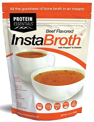 InstaBroth, Bone Broth Powder with Grass Fed, Pasture Raised Collagen and Gelatin, 12.5g Protein (6.4oz) (Beef) (Dehydrated Bone Broth)