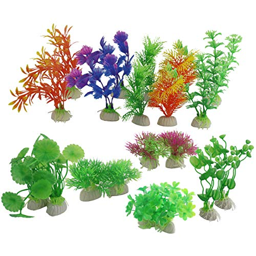 - Ogrmar 20PCS Plant Landscape Aquarium Decoration/Artificial Aquarium Plants/Fish Tank Decorations (Multicolor)