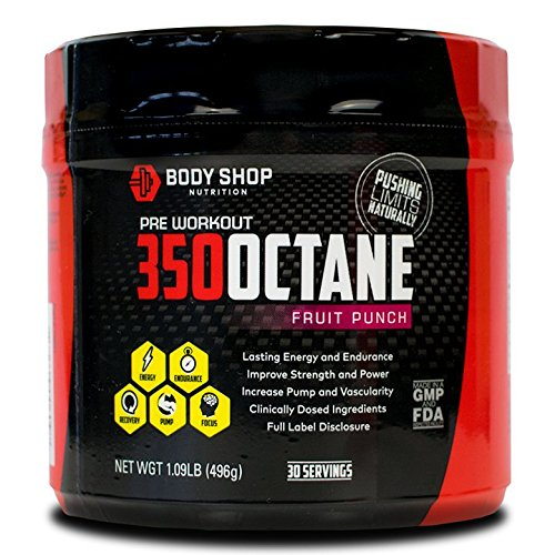 Body Shop Nutrition - 350 Octane Pre-Workout Supplement - Pump / Energy / Endurance Powder for Men and Women - Creatine Free - No Crash - Fruit (Pump Pre Workout Creatine)